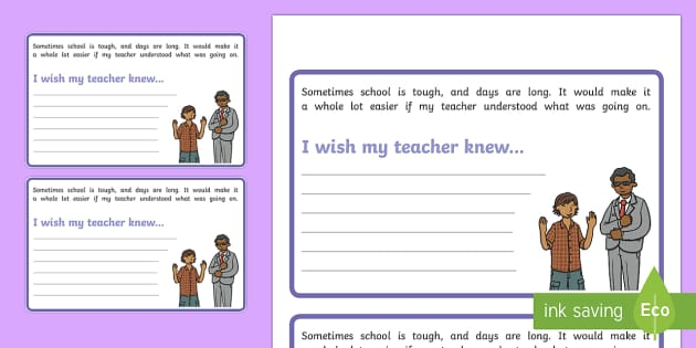 I Wish My Teacher Knew... Activity Sheet - Classroom Management and Organization, worksheet, pshe