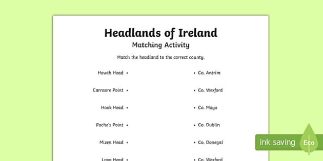 Headlands of Ireland Activity Sheet
