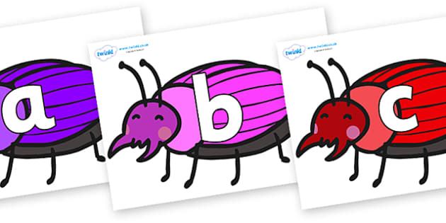 Phoneme Set on Beetles - Phoneme set, phonemes, phoneme, Letters and Sounds, DfES, display, Phase 1, Phase 2, Phase 3, Phase 5, Foundation, Literacy