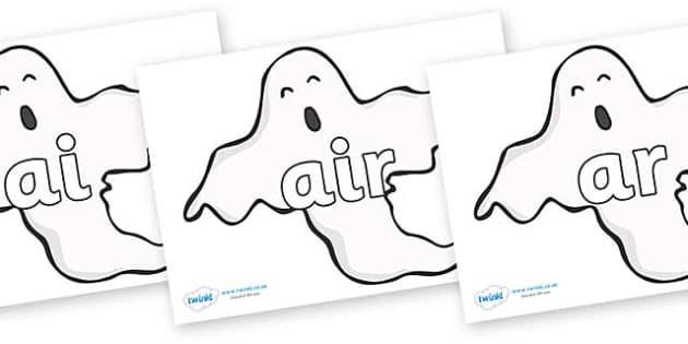 Phase 3 Phonemes on Ghosts (Plain) - Phonemes, phoneme, Phase 3, Phase three, Foundation, Literacy, Letters and Sounds, DfES, display