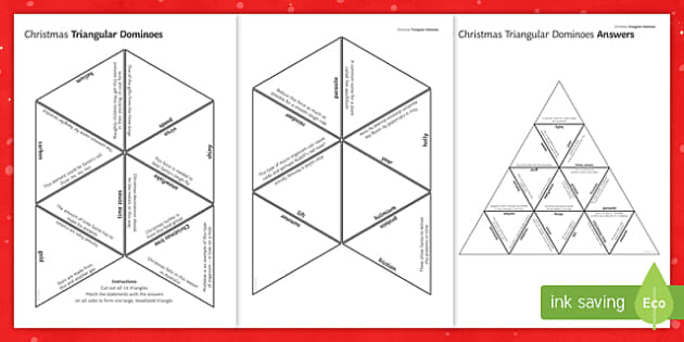 KS3 Science Christmas Resources Triangular Dominoes