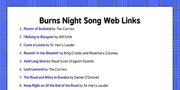 Burns Night Song Web Links - Elderly, Reminiscence, Care Homes, Burns' Night