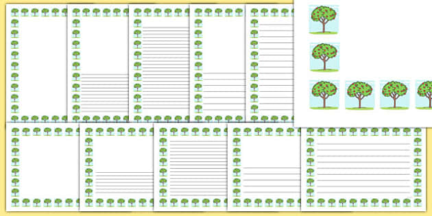 Spring Tree Portrait Page Borders- Portrait Page Borders - Page border, border, writing template, writing aid, writing frame, a4 border, template, templates, landscape