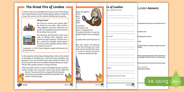 KS1 Great Fire of London Differentiated Reading Comprehension Activity