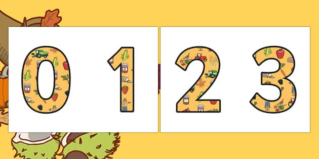Harvest Display Numbers Numbers - autumn, seasons, display
