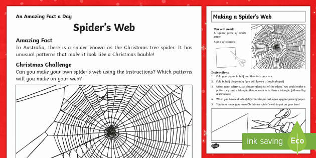 Spider's Web Activity Sheet - Amazing Fact Of The Day, activity sheets, PowerPoint, starter, morning activity, December, Christmas