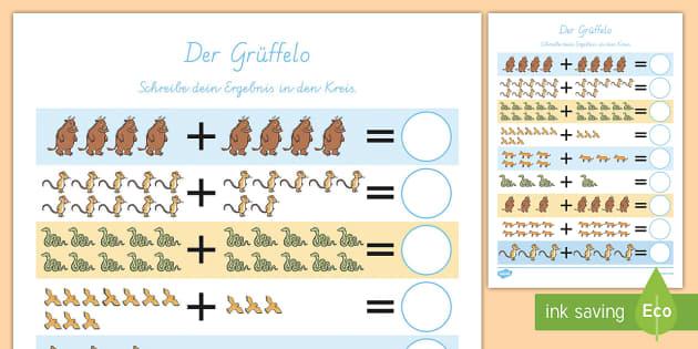Der Grüffelo Arbeitsblatt: Addieren bis 20 - Grüffelo, Addieren, Plus, Erstes Rechnen,German