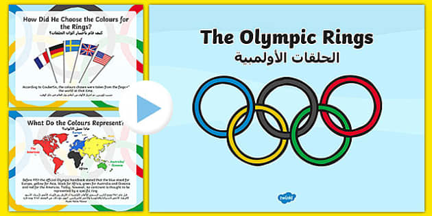 History of the Olympic Rings PowerPoint Arabic Translation - arabic, history, olympics rings, powerpoint