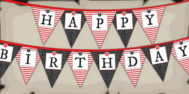 Pirate Themed Birthday Party Happy Birthday Bunting - birthdays