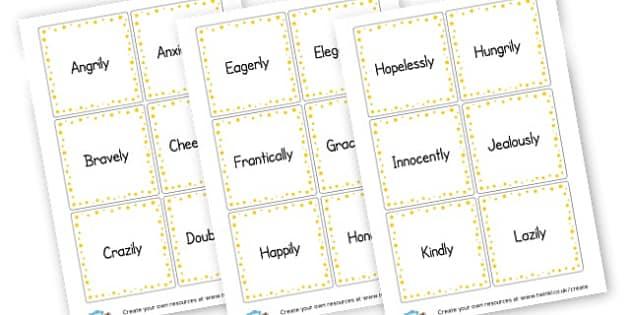Adverb Cards - KS2 Verbs and Adverbs Primary Resources, Verbs, Adverbs, KS2 Words
