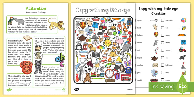 Alliteration Home Learning Challenge Sheet FS2 - EYFS planning, Early years activities, homework activities, phonics, Letters and Sounds, Phase 1, Aspect 5, listening skills
