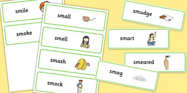 SM Word Cards - sm sound, word cards, word, cards, sound, sm, sen