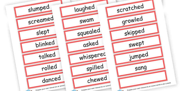 past tense verbs - Verb Primary Resources, verbs, noun, adjective, wow, keywords