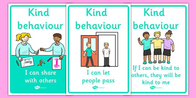 Kind Behaviour Posters - Good manners, good behaviour, class management, display, banner, poster, sign, sharing, behaviour management, SEN, polite, indoor voice