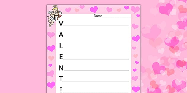 Valentine's Acrostic Poem - acrostic poems, acrostic poem, acrostic, poem, valentines poetry, valentines poem, valentines day acrostic poem, poetry, literacy, writing activity, activity
