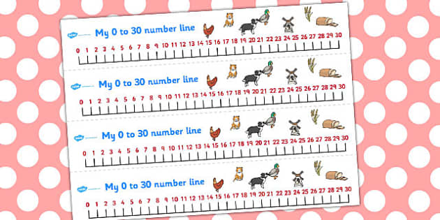The Little Red Hen Number Lines 0-30 - Little, Red, Hen, Numbers