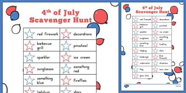 4th of July Scavenger Hunt - usa, america, 4th july, independence day, scavenger hunt