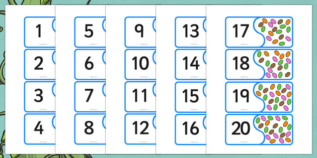 Jack and the Beanstalk Bean Number Matching Activity - jack and the beanstalk, number matching, number, matching, matching numbers, number bonds, bonds