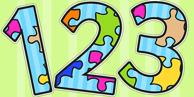 Jigsaw Puzzle Themed Display Numbers - puzzles, numbers, display