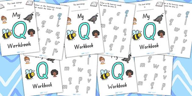 My Workbook Q Uppercase - letter formation, fine motor skills