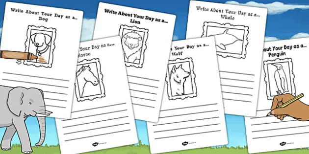 Write About Your Day as an Animal Activity Sheet - animal, day, worksheet