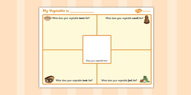 My Vegetable Description Worksheet - description, worksheet