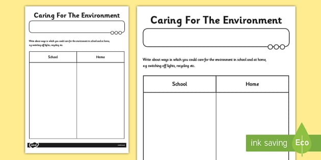 Caring For The Environment Worksheet - environment, worksheet