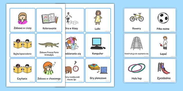 Karty ze słownictwem Zabawy na przerwie po polsku - gry