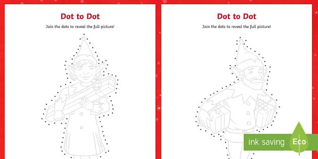 Elf Dot to Dots Activity Sheets - dot to dot, dot-to-dot, christmas, elf, elves, christmas, worksheets, eyfs, ks1, xmas