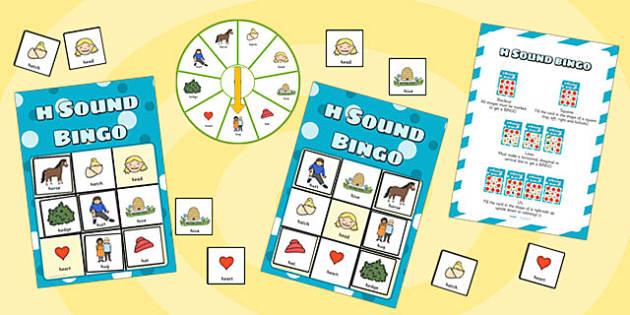 h Sound Bingo Game with Spinner - h sound, sound, sounds, bingo
