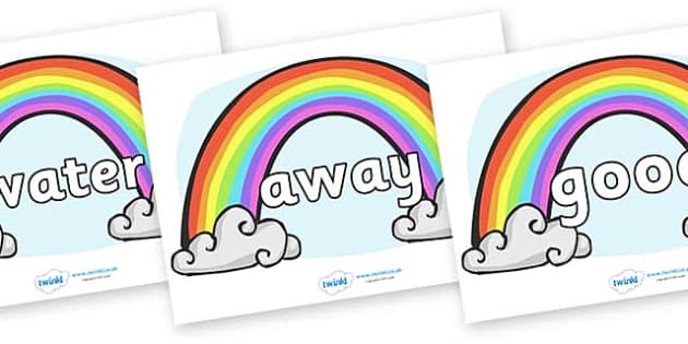 Next 200 Common Words on Rainbows - Next 200 Common Words on  - DfES Letters and Sounds, Letters and Sounds, Letters and sounds words, Common words, 200 common words