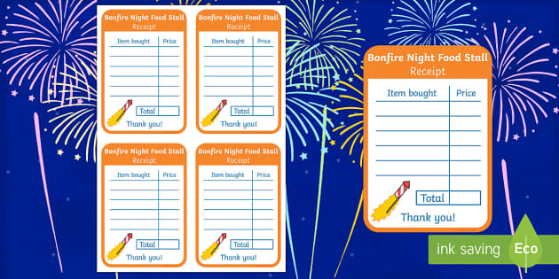 Bonfire Night Food Stall Role Play Receipt