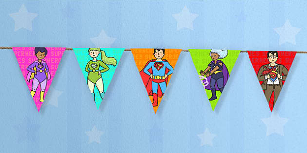 Superhero Themed Display Bunting - superheroes, bunting, flags