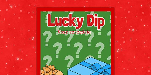 Christmas Themed Lucky Dip Poster Polish Translation - polish, christmas, themed, lucky dip, poster, display