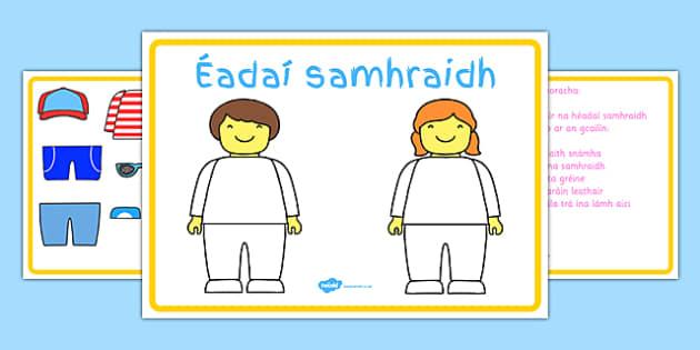 Summer Clothes Game Gaeilge - Irish , Gaeilge , Listening, dress up ,summer, clothes, game