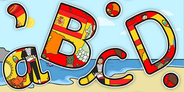 Spanish Themed Size Editable Display Lettering - Spanish, Letters