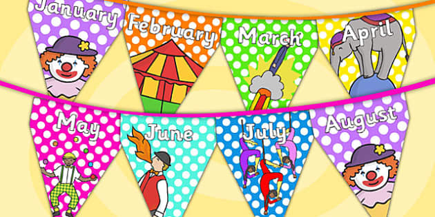 Circus Themed Months of the Year Bunting - circus, months, year, bunting