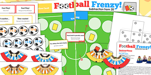 Subtraction From 20 Football Board Game - subtract, world cup