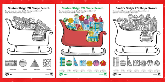 Santa's Sleigh 2D Shape Search Activity