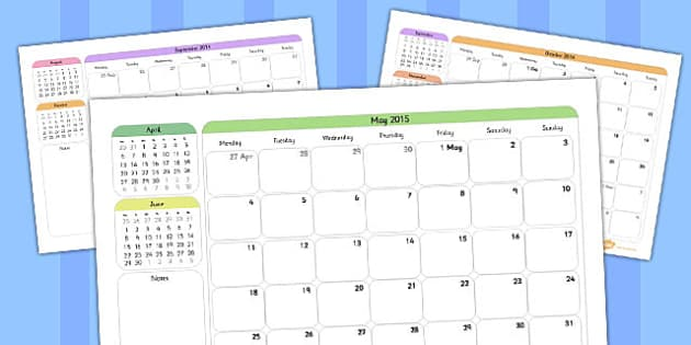Academic Year Calendar September 2014 to August 2015 - planning