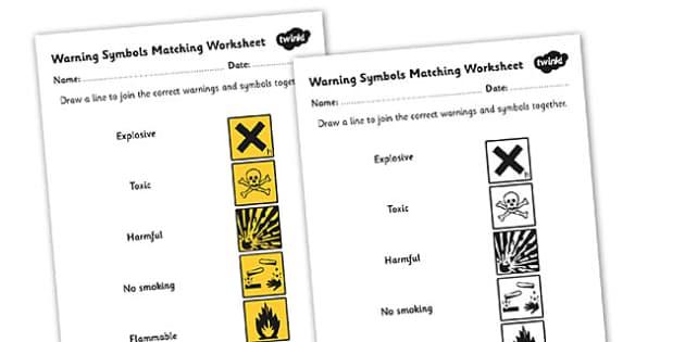 Warning Symbols Matching Worksheet - warning symbols, warning symbols worksheet, warning symbols activity, what warning symbols mean, science symbols, ks2