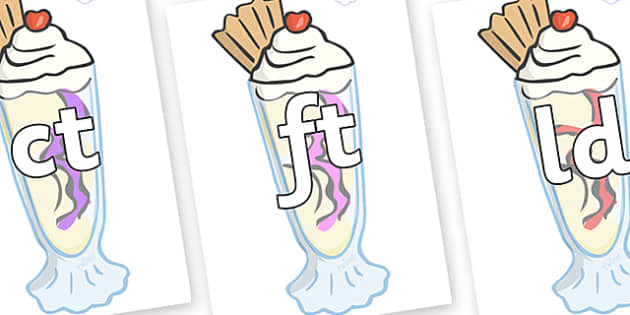 Final Letter Blends on Ice Cream Sundaes - Final Letters, final letter, letter blend, letter blends, consonant, consonants, digraph, trigraph, literacy, alphabet, letters, foundation stage literacy