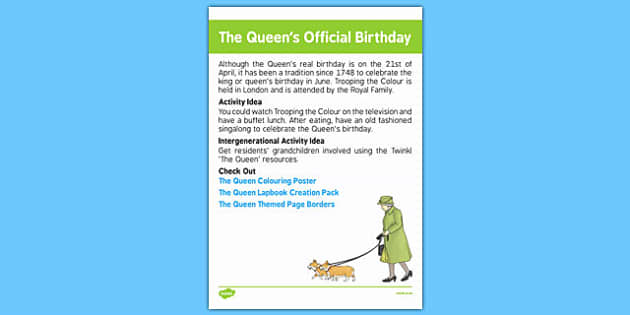 Elderly Care Calendar Planning June 2016 The Queen's Official Birthday - Elderly Care, Calendar Planning, Care Homes, Activity Co-ordinators, Support, June 2016