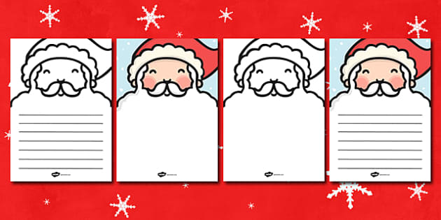 Santas Beard Letter Writing Template - santa, beard, letter