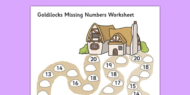Goldilocks Missing Numbers Worksheet - goldilocks, worksheet