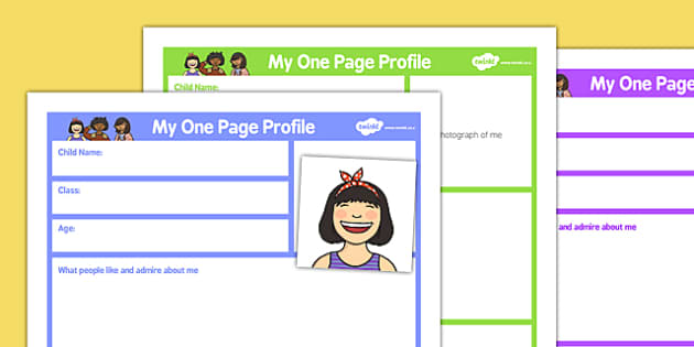 My One Page Profile General - my one page, profile, general