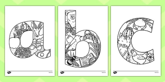 Lowercase Alphabet Themed Mindfulness Colouring Sheets - colouring, pd, fine motor skills, well being, stress, relax, unwind, early years, ks1, ks2, art, home learning, display