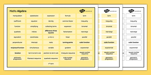 KS4 Maths Word Mat Algebra - KS3, KS4, GCSE, Maths, keywords, vocabulary, revision, algebra