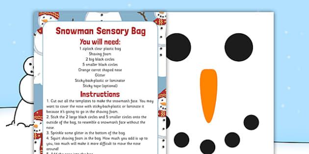 Snowman Sensory Bag - snowman, sensory bag, sensory, bag, winter