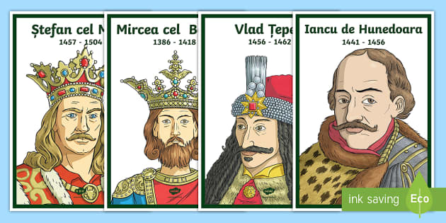 Personalități istorice - Vlad Țepeș, istoria românilor, planse, domnitori, Stefan cel Mare, Mircea cel Bătrân, Iancu de